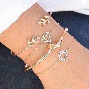 3/$33 4 Piece Gold Bracelet Set